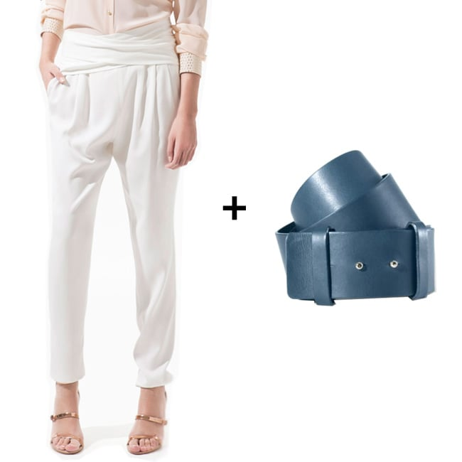Wide-Belt Styling Tip: When wearing a slouchier trouser — like this white tailored pair — make the stark palette pop with a colorful accent. We chose a muted navy hue to emphasize the crispness of the silhouette, but more importantly, the wider size of the belt will draw extra attention to the length of both your torso and your legs. When shopping for a wide belt-trouser combo, remember to stick to a more minimalist styling approach. The long-versus-wide juxtaposition will speak for itself.  Get the Look: Zara Trousers With Sash Belt ($80) + Theory Wide Clean Belt in Navy ($160)