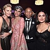 Pictured: Charlize Theron, Mimi Valdes, Pharrell Williams, and Salma Hayek