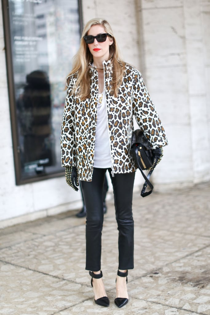 Joanna Hillman played her animal print just right against a pair of understated black leather bottoms.