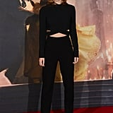 The outcome was an elevated take on comfort when she hit the red carpet, and Emma styled her outfit simply with matching hoop earrings and her Burberry silk heels.