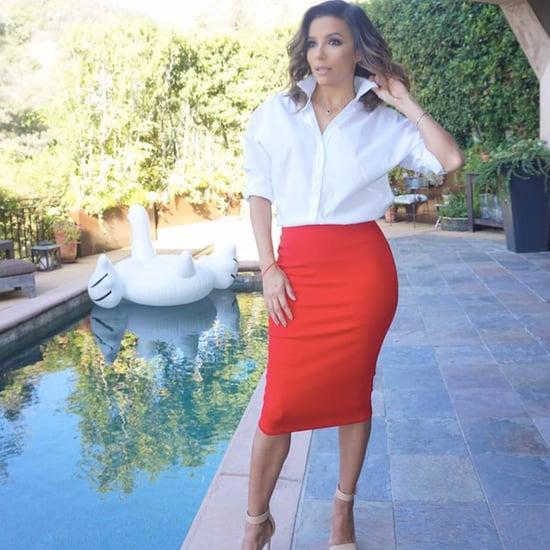 Eva Longoria's The Limited Red Pencil Skirt Oct. 2016