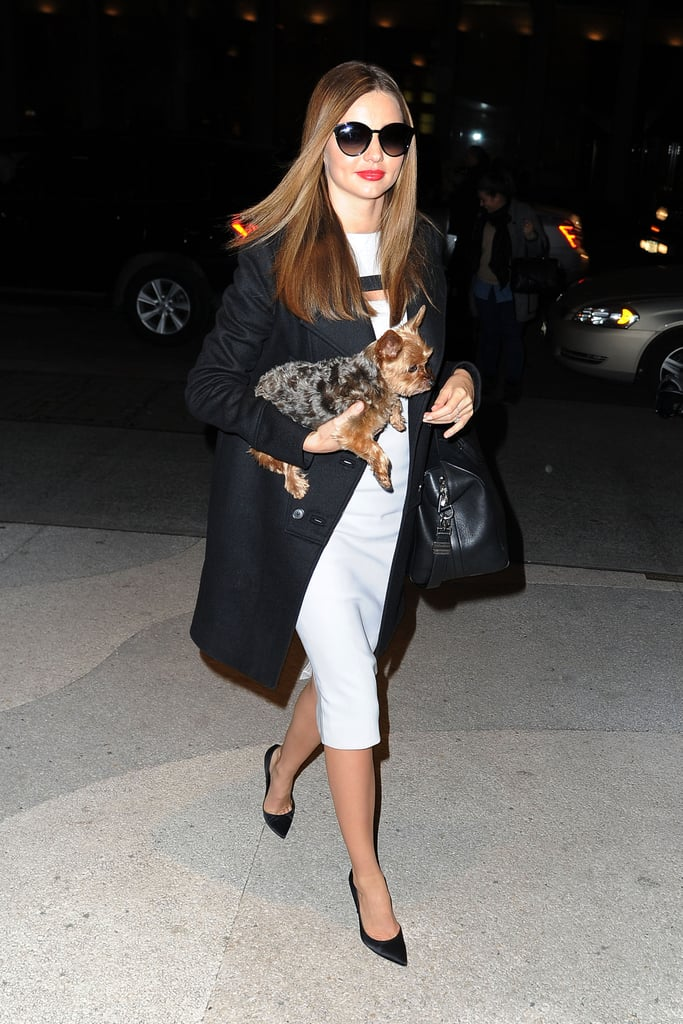 Miranda Kerr was on-trend in a black and white ensemble while out in NYC. She started with a white knee-length dress, then added a black coat, her favourite Givenchy bag, and black pointy pumps.