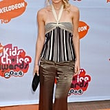 Ashley Olsen paired a striped halter top with silky wide-leg pants at the 2004 awards.
