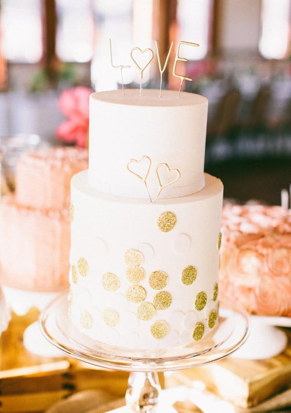 decorate your cake with gold dots and letters that say love and girlie wedding cakes. Black Bedroom Furniture Sets. Home Design Ideas