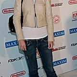 Holmes partied the night away in True Religion denim and a cropped supple leather jacket at Maxim's 2005 Super Bowl party in Jacksonville, FL.
