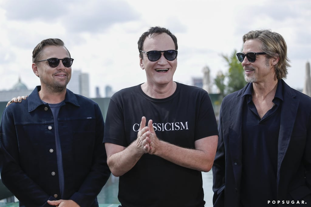 Leonardo DiCaprio, Quentin Tarantino, and Brad Pitt at the Once Upon a Time in Hollywood photocall in Berlin.