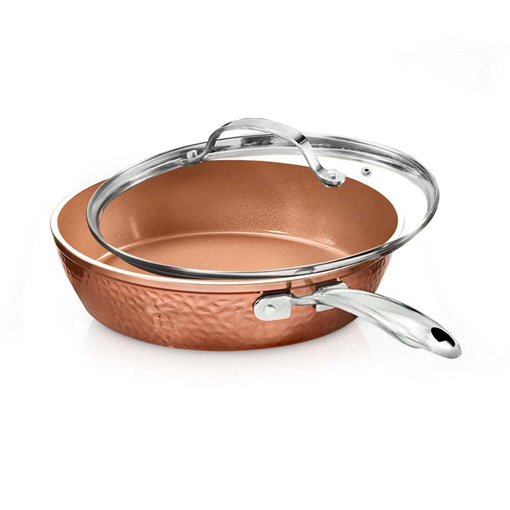 Gotham Steel Hammered Copper 10 in. Aluminum Non-Stick Fry Pan with Glass Lid