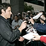 Nick Lachey signed autographs for fans at the December 2004 show.