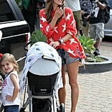 Alessandra Ambrosio posed for photographers with daughter Anja in LA.