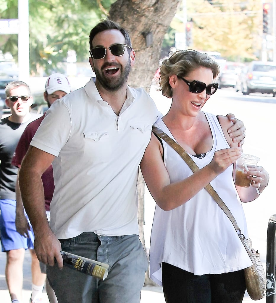 Katherine Heigl appeared to be in a great mood when she stepped out for lunch with husband Josh Kelley in LA on Saturday afternoon. The actress, who's currently pregnant with her third child, covered up her baby bump in workout gear and stayed close to her man as they walked around town. Katherine announced her pregnancy back in June, and we've already gotten several glimpses of her growing belly. In July, the Doubt star showed off her baby bump while filming scenes for her show, and shortly after, she hit the red carpet at the CBS, CW, and Showtime Summer TCA party. The couple is already parents to their two adopted kids, Naleigh and Adalaide.      Related:                                                                Buns in the Oven: 21 Stars Who Are Expecting Babies in the New Year                                                                   29 Stars Who Became Mothers This Year