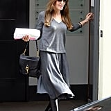 Angelina Jolie wore all gray for her morning meeting.