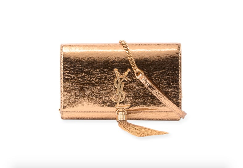 Saint Laurent Kate Crinkled Metallic Tassel Chain Wallet