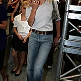 The tucked tee and denim blues, another iconic look of Kate's.