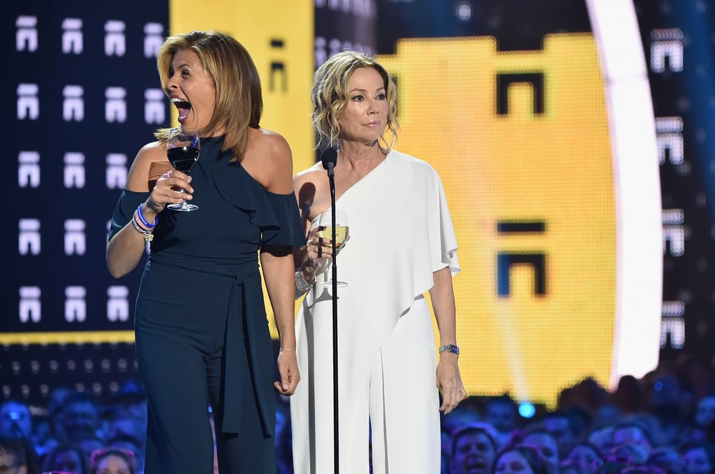 Even if you don't watch Hoda Kotb and Kathie Lee Gifford's hour of the Today show, there's still a good chance you've heard about the duo's love of wine. No matter how early it is, they're always willing to throw one (or two or three) back on TV. They brought their passion to the CMT Awards on Wednesday night while presenting an award and couldn't have looked happier with their liquid accessories. While giggling with each other on stage and posing for photos with Jason Derulo and Luke Bryan, the wine glasses didn't leave their hands (and we don't blame them!).      Related:                                                                                                           Today's Hoda Kotb Adopts a Baby Girl