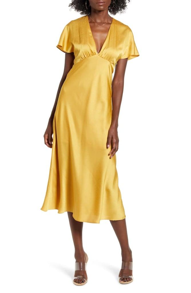 All in Favor Jacquard Satin Midi Dress