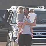 Ben Affleck was happy to see his daughters, Seraphina Affleck and Violet Affleck, arrive in Puerto Rico in July 2012.