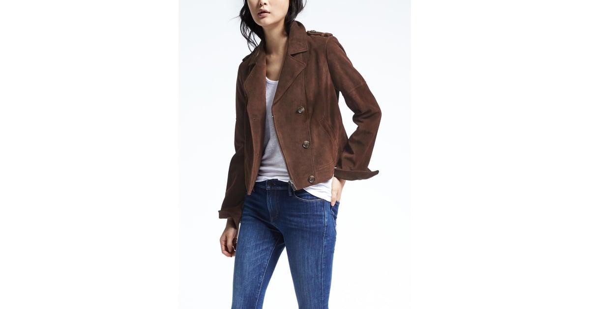 57caa429c Banana Republic Brown Suede Moto Jacket | Selena Gomez Brown Suede ...
