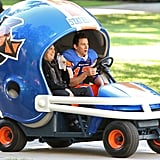 Channing Tatum and Jonah Hill rode around in a giant football helmet on the set of 22 Jump Street in New Orleans, LA.