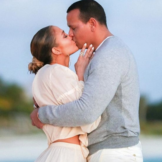 Jennifer Lopez White Crop Top Set in Engagement Photos