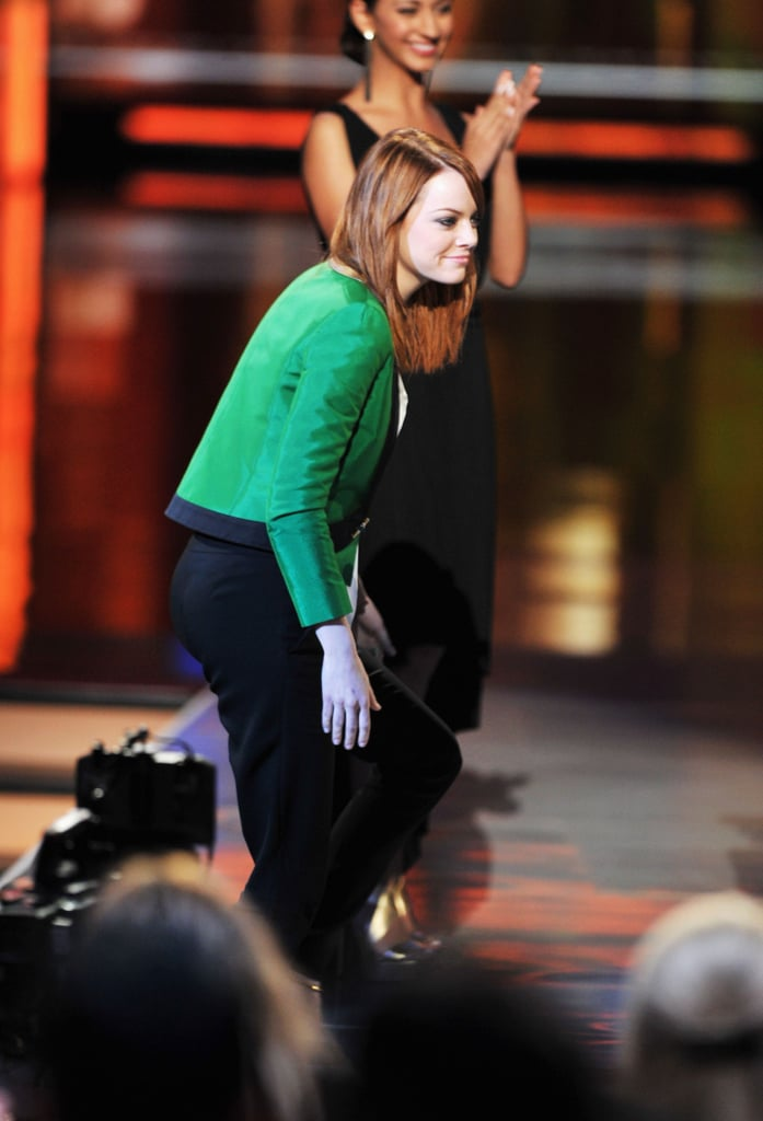 Emma Stone smiled at her fans.