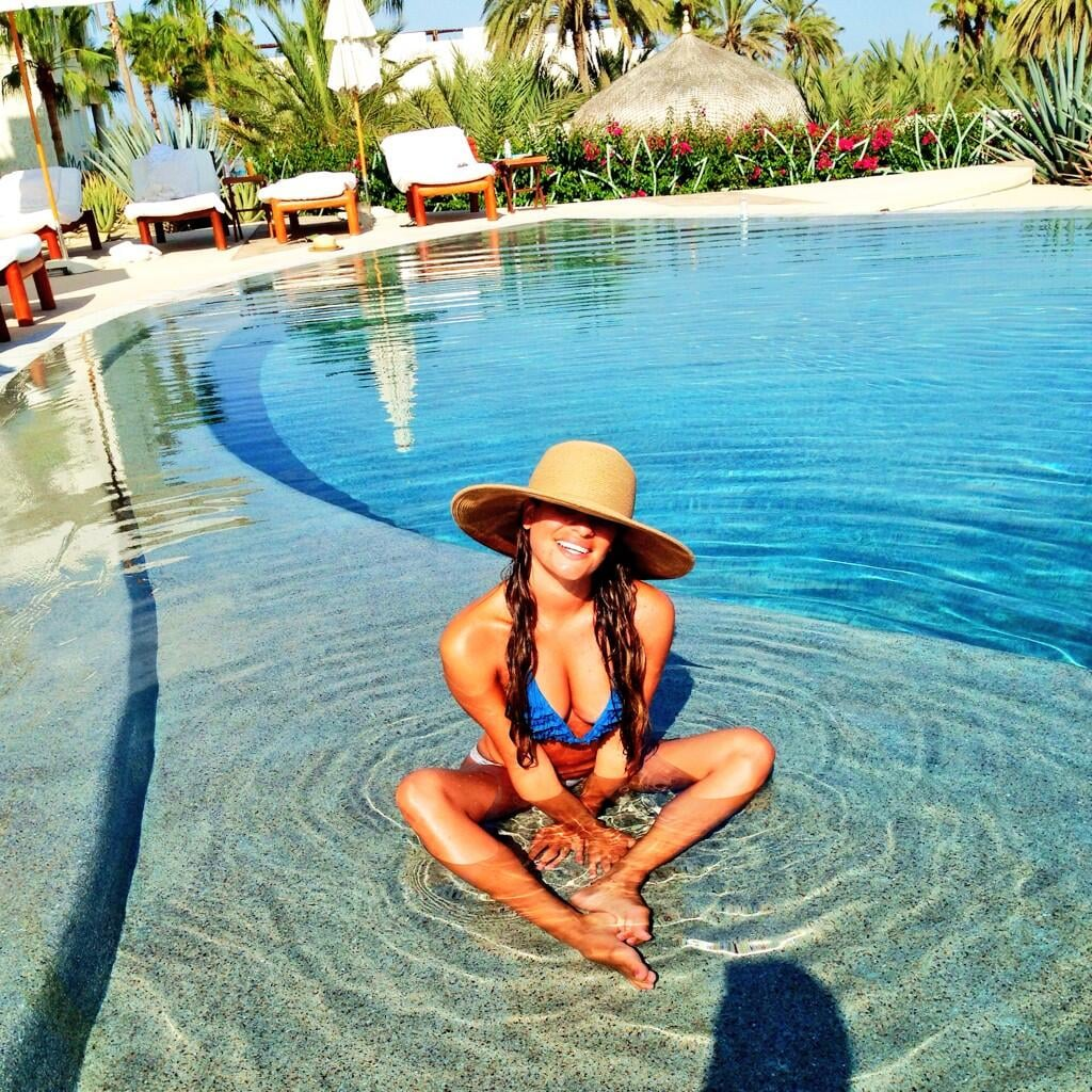 Lea Michele posed in a pool in Cabo.  Source: Twitter user msleamichele