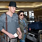 Channing Tatum and Jenna Dewan were hand in hand as they went through security at the Los Angeles airport.
