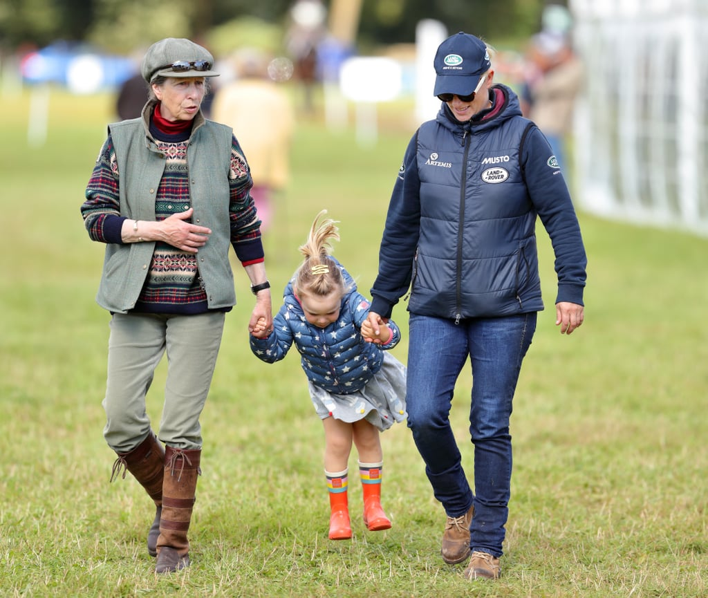 Princess Anne and Daughter Zara Tindall With Mia Tindall at the Whatley Manor Horse Trials in September 2017