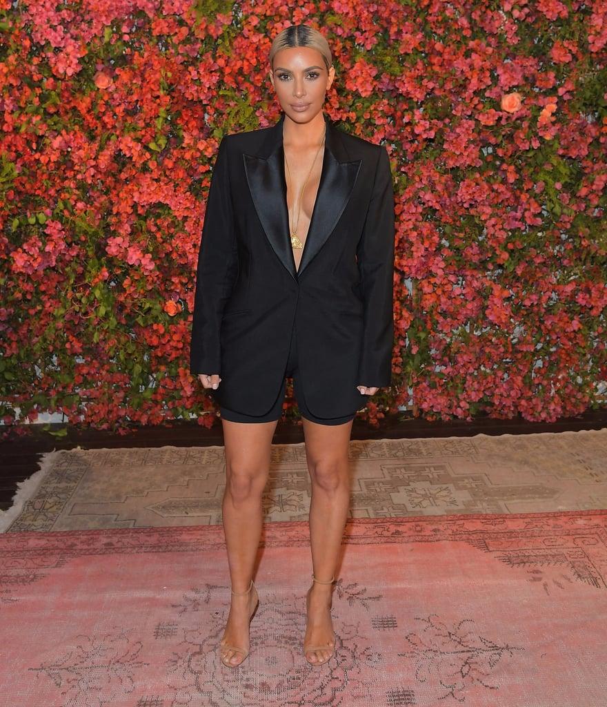 Kim Kardashian Wearing Tuxedo Jacket and Biker Shorts