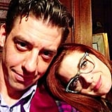 Debra Messing posed with her Smash costar/best friend, Christian Borle. Source: Instagram user therealdebramessing