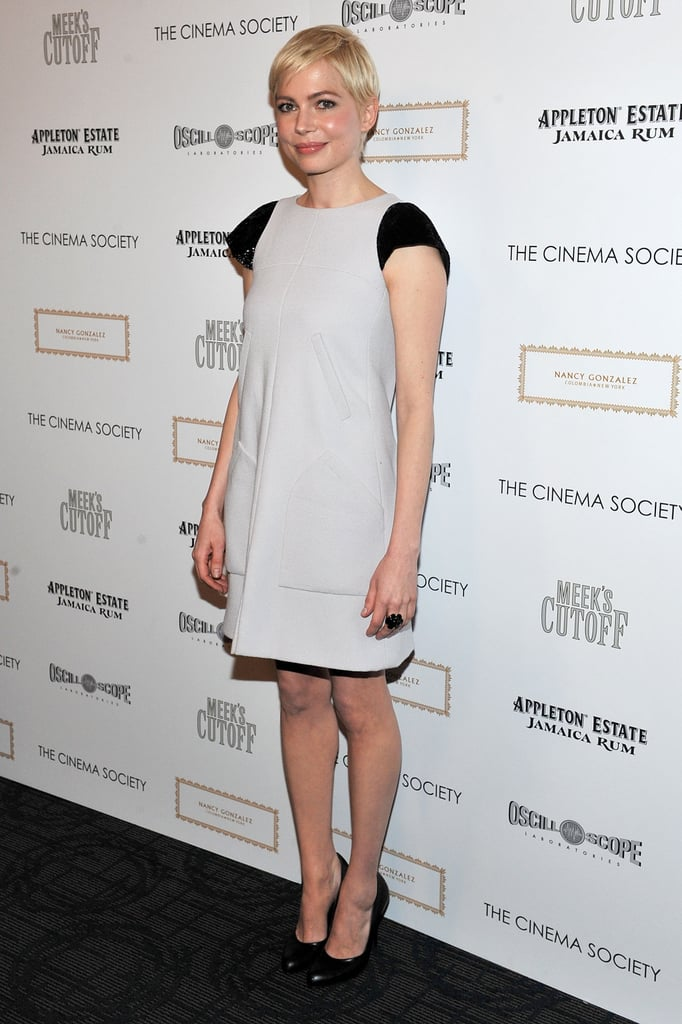 Michelle Williams was the center of attention in a chic Chanel dress last night at a NYC screening of her movie Meek's Cutoff last night at the James Hotel. The indie Western is opening in limited release next week after Michelle took it to festivals last year, and it's her second collaboration with her Wendy and Lucy director Kelly Reichardt. Michelle mingled with her costar Paul Dano on the dark carpet as well as his girlfriend Zoe Kazan. It was one of Michelle's first big public events since she made the award season rounds in January and February to support her Blue Valentine. Her close friend Busy Philipps was her date to many ceremonies, and now Michelle is hanging out at her Brooklyn home with other pals and her daughter Matilda.