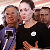 Angelina Jolie spoke in Jordan.