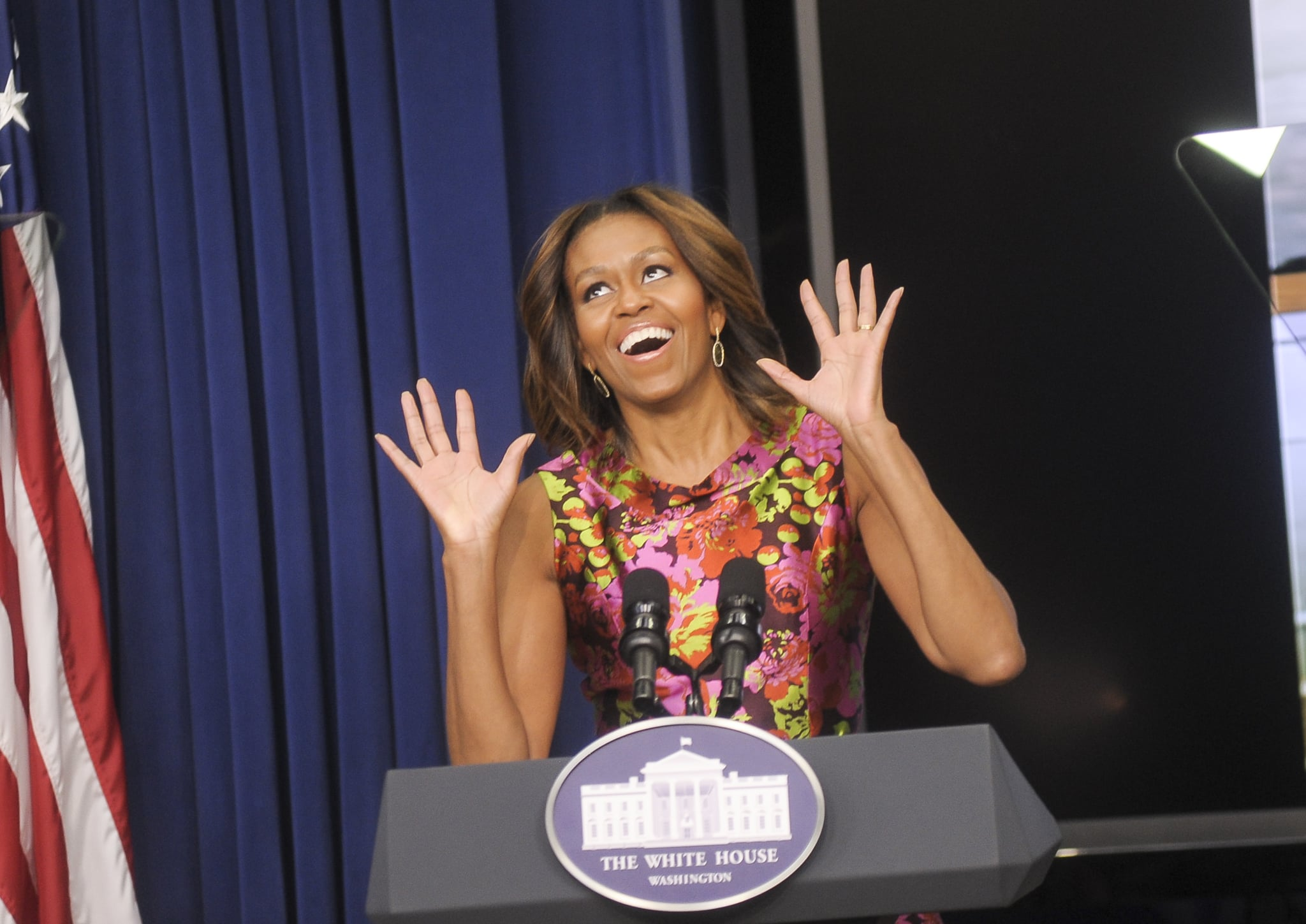 First Lady Michelle Obama got animated while delivering remarks at the event.