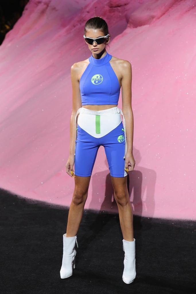 Kaia Modeled Blue Spandex Separates at the Fenty Puma by Rihanna Show