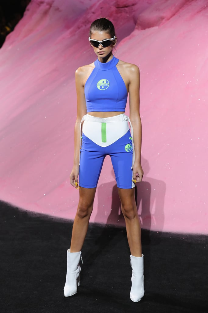 Kaia Modelled Blue Spandex Separates at the Fenty Puma By