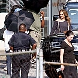 Jennifer Lopez films a movie.