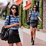 A Plaid Top, Leather Skirt, and Booties