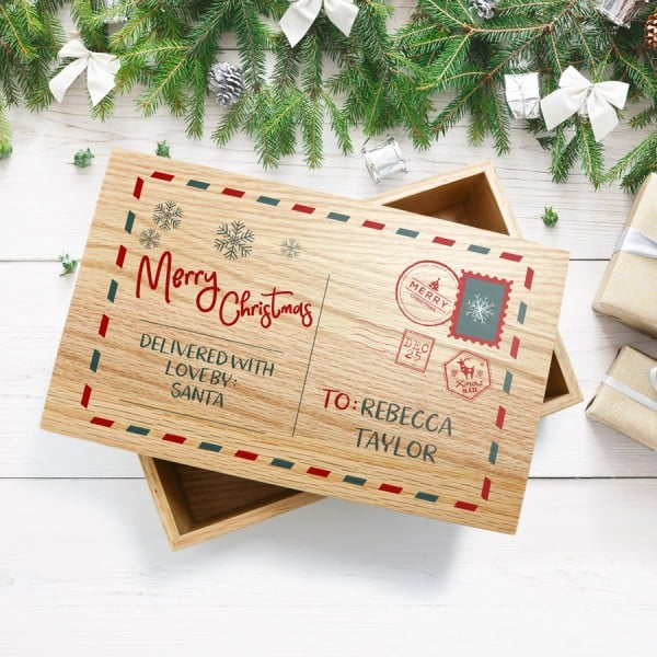 Personalised Oak Christmas Postcard Keepsake Box