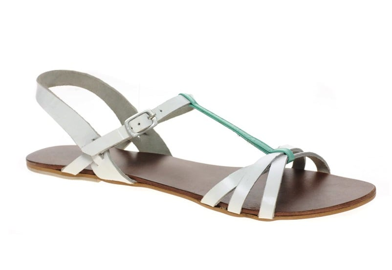 Made for romps around the city and in the park, these two-tone T-strap sandals will complement your favorite cuffed jeans and prettiest dresses. ASOS Flossy Leather Flat Sandals With T-Bar ($33)