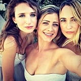 Lo took a selfie with girlfriends after the couple tied the knot.