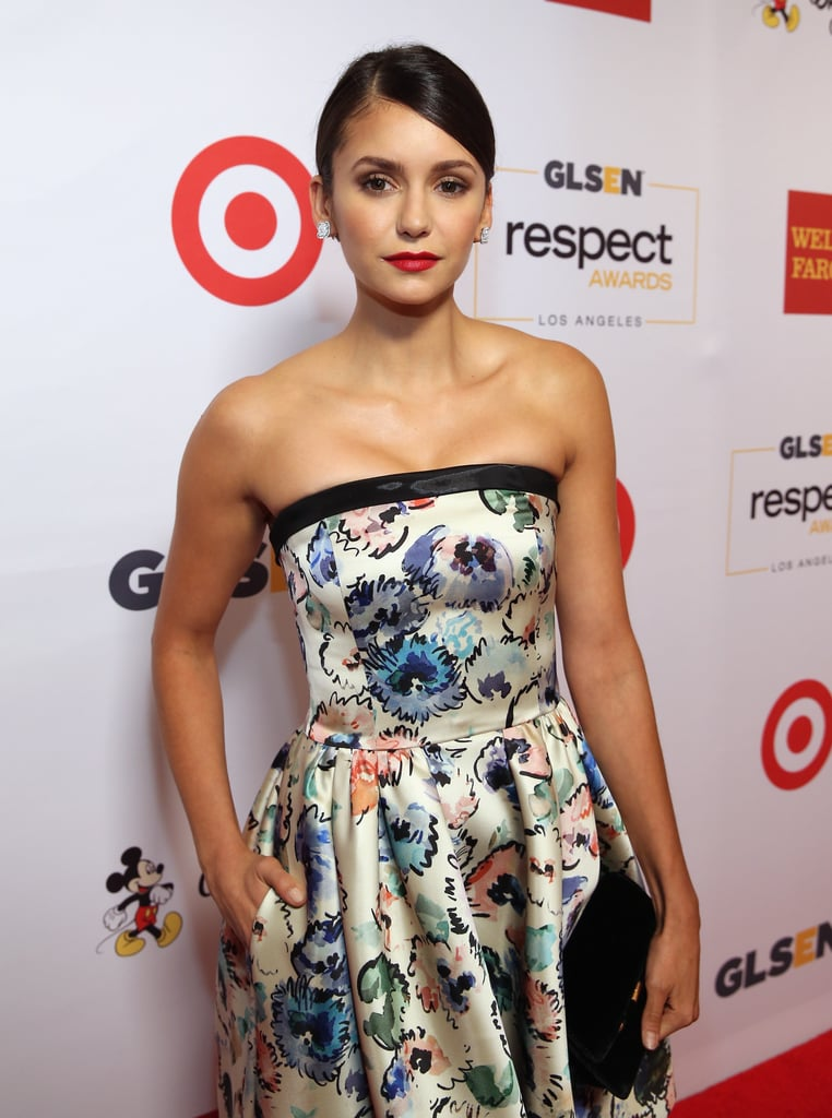 Nina Dobrev attended the 2016 GLSEN Respect Awards in LA on Friday night looking all sorts of gorgeous. The actress, who stunned in an Armani printed dress, was on hand to present YouTube star and activist Connor Franta with an award for his commitment to youth welfare and LGBTQ advocacy. While it's been rumored for a while that Nina will be returning for The Vampire Diaries' final season, she did appear in one of the last scenes during the show's premiere on Friday night. Back in August, the network's president, Mark Pedowitz, revealed that he was having discussions about her return during a TCA panel, so it looks like we'll just have to watch the show and see for ourselves.      Related:                                                                                                           Sink Your Teeth Into These Juicy Details About The Vampire Diaries' Final Season
