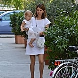 Sofia Coppola carried her daughter Cosima Mars through the streets of Bernalda.