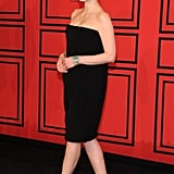Jessica Chastain wore a black strapless dress to the CFDA Fashion Awards.