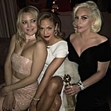 """""""The girls and the globe!! Congrats Gaga! #goldenglobes #CAA #afterparty #katehudson #ladygaga #jlo"""""""
