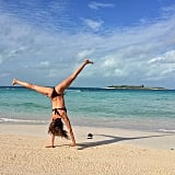 Gisele Bündchen did a cartwheel on the beach. Source: Instagram user giseleofficial
