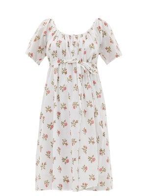 Thierry Colson Plum Floral-Print Cotton-Voile Dress