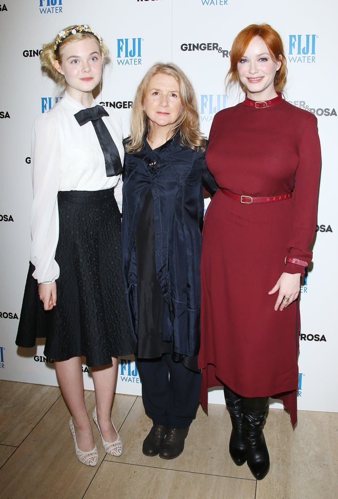 Christina Hendricks and Elle Fanning posed with Sally Potter.