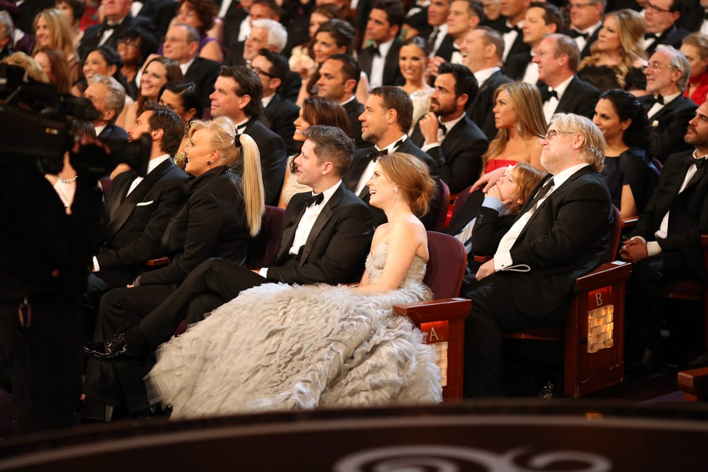 Amy Adams, Hugh Jackman, Jennifer Aniston, Philip Seymour Hoffman, and more watched from the audience.
