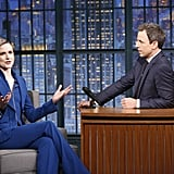 We're not surprised when the actress showed up at Late Night With Seth Meyers in yet another pantsuit, this time in a cobalt blue.