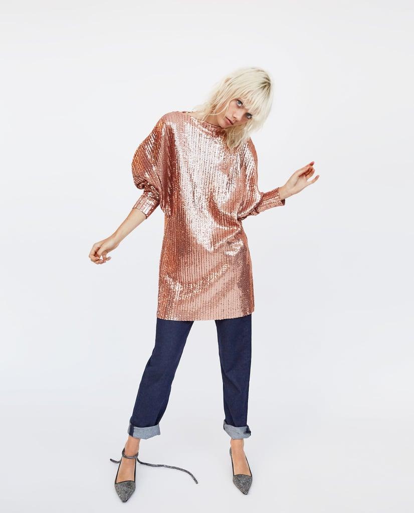 Zara Sequined Pleated Dress