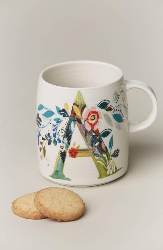 Anthropologie Petal Palette Monogram Mug